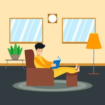 Человек отдыхает дома
