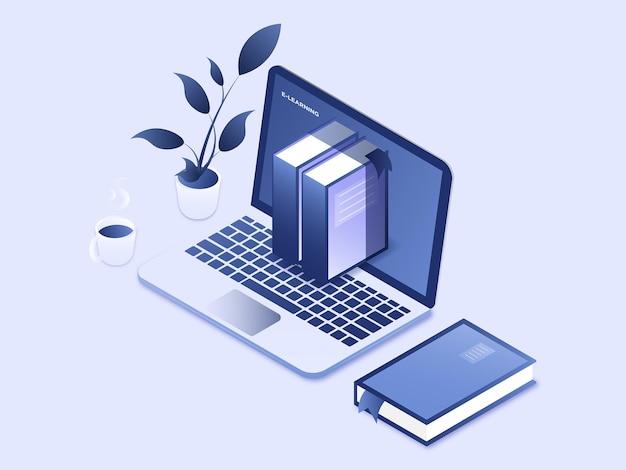 작업 공간 온라인 교육 개념 3d i에서 노트북과 책을 통해 온라인 과정을 공부하는 사람