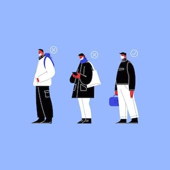 Человек с маской на подбородке, человек, не закрывающий нос, и человек в маске, стоящий в очереди.