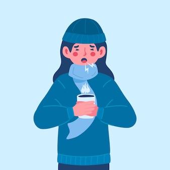 감기에 걸린 사람