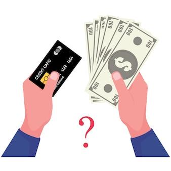 은행권과 신용 카드 사진에는 한 손으로 잡는 카드가 있고 다른 한 손에는 달러 현금이 들어 있습니다.