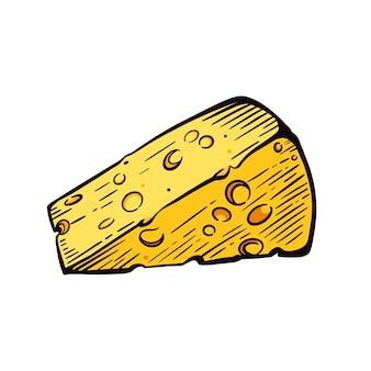Кусок сыра на белом фоне эскиза. молочные продукты. рисованной векторные иллюстрации