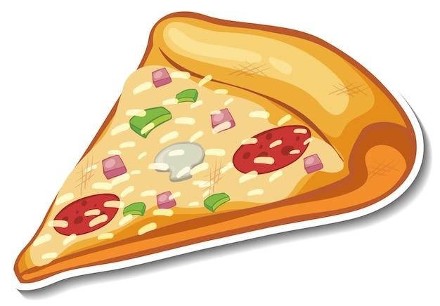 Кусок стикера итальянской пиццы на белом фоне