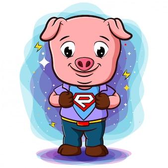 영웅 스타일에 로고를 표시하기 위해 돼지는 셔츠를 엽니 다