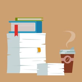 紙の書類のフォルダーの山とコーヒーのグラス課外活動