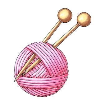 ピンクの編みウールのボールと2本の針が刺さっています。