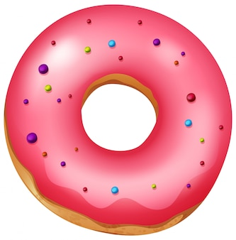 A pink isolated donut
