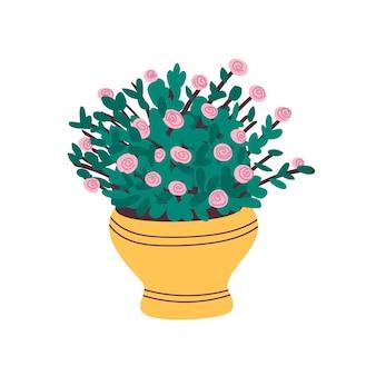 黄色い鍋にピンクのバラ。ベクトル図