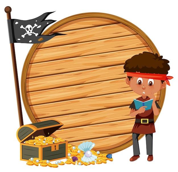 Мальчик-пират с пустым знаменем на белом фоне