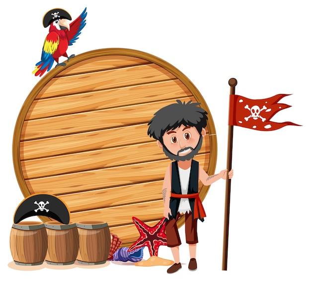 Пиратский человек с пустым знаменем на белом фоне