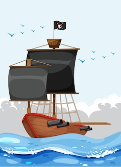 Пиратский корабль с флагом веселого роджера в океане