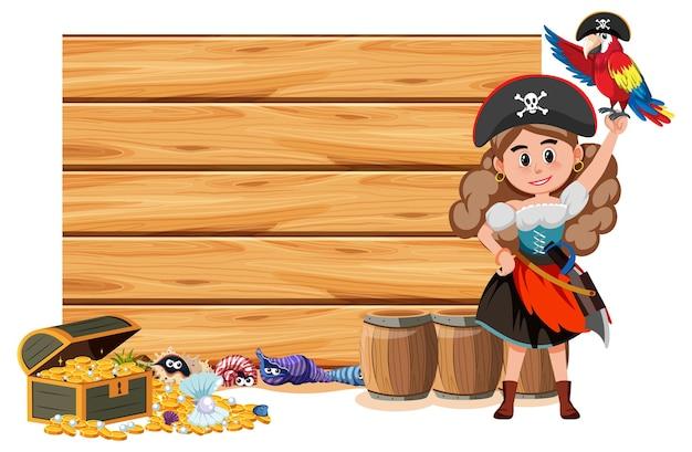 Пиратская женщина с пустым знаменем на белом фоне
