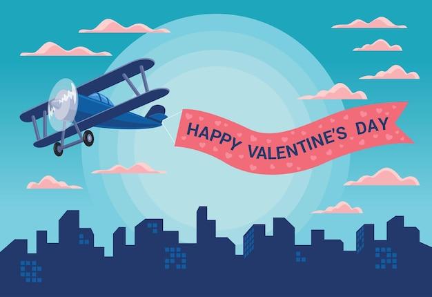 バレンタインデーを祝うために空にリボンで浮かぶ飛行機