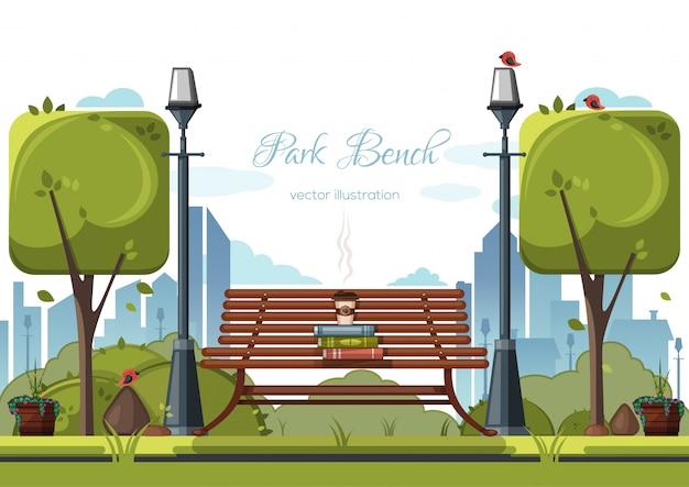都市公園のベンチにあるプラスチック製のコップ。
