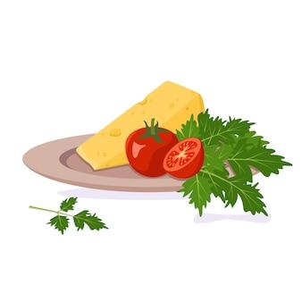 치즈, 토마토 및 허브와 함께 접시. 건강한 유기농 식품. 평면 그림