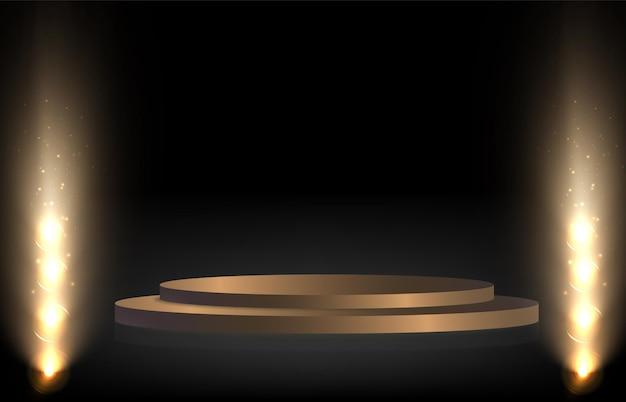 Подиумный постамент или помост, освещенный прожекторами, на заднем плане с падающими золотыми конфетами ve