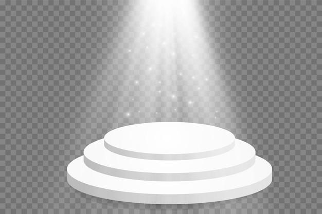明るい光の表彰台。授賞式のステージ。ベクトルイラスト