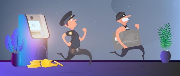 Полицейский бежит за вором. грабитель крадет банковскую карту и убегает. банкомат, золотые монеты. концепция мошенничества. мультяшный стиль. вектор. Premium векторы