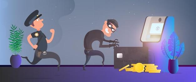 Полицейский бежит за вором. грабитель крадет банковскую карту. банкомат, золотые монеты. концепция мошенничества.