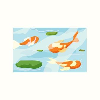 Пруд с красивыми рыбками. векторная иллюстрация в плоском стиле