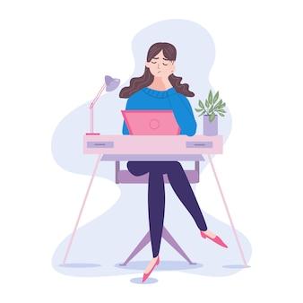 Бедная скучающая или уставшая офисная женщина или работающая из дома. она перегружена, несчастна и, вероятно, не может справиться со сроками, чтобы закончить задачу. мультфильм плоской иллюстрации.