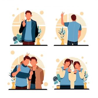 2本の指で平和のシンボルを形成している人々の肖像画。フラットなデザインコンセプト。図