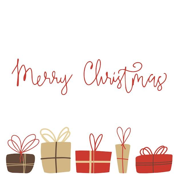 クリスマスプレゼントと碑文が入ったポストカード。