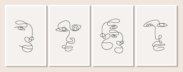 ミニマルでエレガントなスタイルの1本の線で描かれた男性のポスター。女性と男性の抽象的な顔。人のシルエットのセットです。背景デザインのベクトルイラスト。