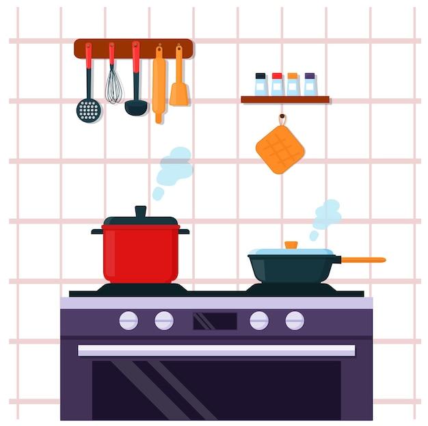 Кастрюля и сковорода на электрической плите. интерьер кухни, приготовление еды.