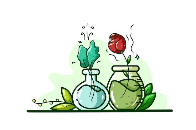 植物と花のイラストで作られたポーション