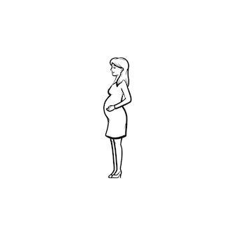 임신한 여자 손으로 그린 개요 낙서 아이콘입니다. 흰색 배경에 고립 된 인쇄, 웹, 모바일 및 infographics에 대 한 임신, 출산 및 배달 개념 벡터 스케치 그림.