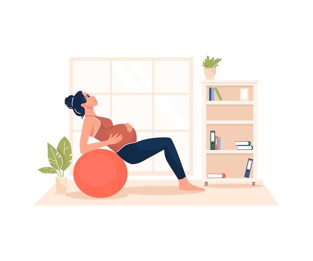 Беременная женщина выполняет иллюстрацию гимнастики