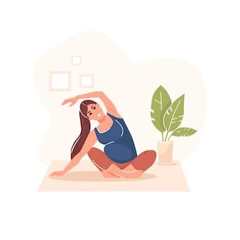 Беременная женщина выполняет гимнастику беременности векторные иллюстрации изолированные