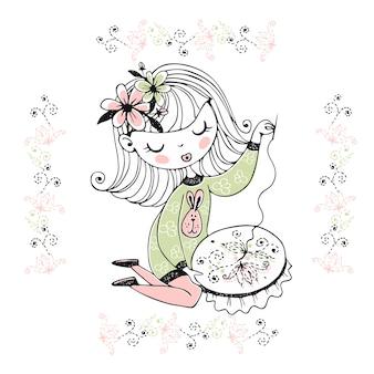 Симпатичная девушка занимается рукоделием и вышивает красивый узор на пяльцах.