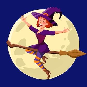 Симпатичная ведьма с рыжими кудрявыми волосами, летающая ночью на метле. смешная девочка на фоне луны. векторная иллюстрация для хэллоуина в мультяшном стиле.
