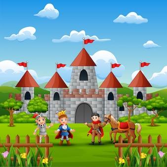 성 앞에서 왕자와 기사
