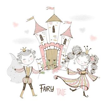 Принц и принцесса в сказочной стране возле своего замка.