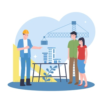 Профессиональный архитектор объясняет проект здания потенциальным покупателям.