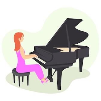 전문 피아니스트가 다가오는 콘서트를 위해 연습 중입니다.