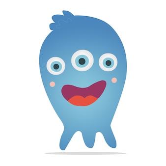 뿔과 날카로운 이빨을 가진 보라색 벡터 괴물.