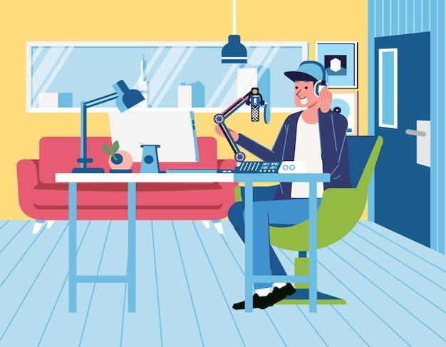 スタジオでラジオ放送をしているラジオアナウンサー、ラジオスタジオのインテリアフラットイラスト。