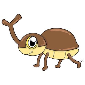 Редкий и милый жук, изображение значка каракули. мультипликационный персонаж милый рисунок каракули