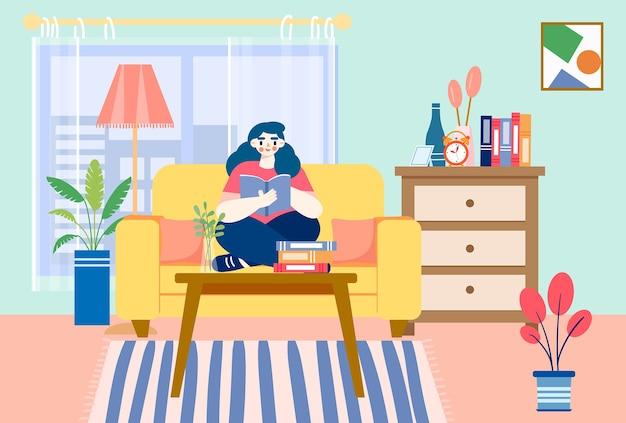 Читающая девушка сидит на диване иллюстрации