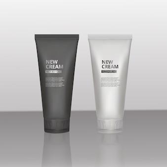 広告用のリアルな外観のコスメティックテンプレート、デザインと印刷用の明るい背景のリアルな白黒マットチューブとコスメティックバンク。