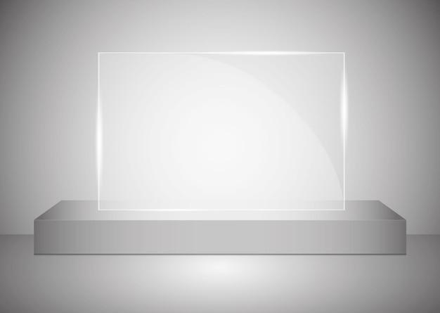スポットライトで照らされたガラスの台座またはプラットフォームを備えた長方形の表彰台