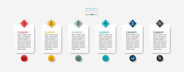 6ステップのインフォグラフィックを備えた長方形のテキストボックス。