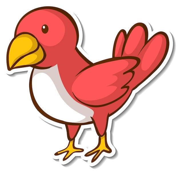 Красная птица, стоящая на ветке стикера