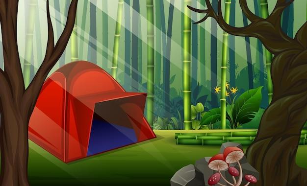 숲 그림에서 빨간색 캠핑 텐트