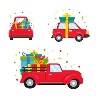 큰 선물 상자를 들고 크리스마스에 빨간 차.
