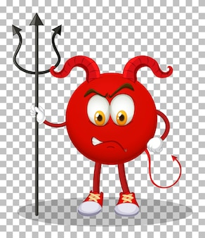 透明な背景に表情を持つ赤い悪魔の漫画のキャラクター